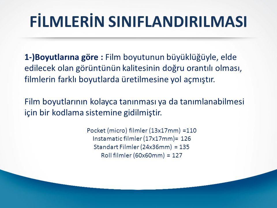 FİLMLERİN SINIFLANDIRILMASI 24 x36 mm, 135, KÜÇÜK FİLM KARTUŞ FİLM Film plastik kartuş içerisindedir.