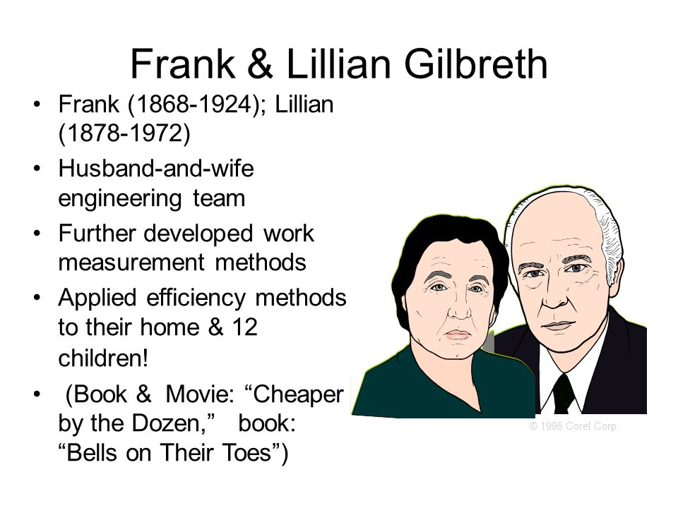 Frank & Lillian Gilbreth Frank (1868-1924); Lillian (1878-1972) Husband-and-wife engineering team Further developed work measurement methods Applied efficiency methods to their home & 12 children.