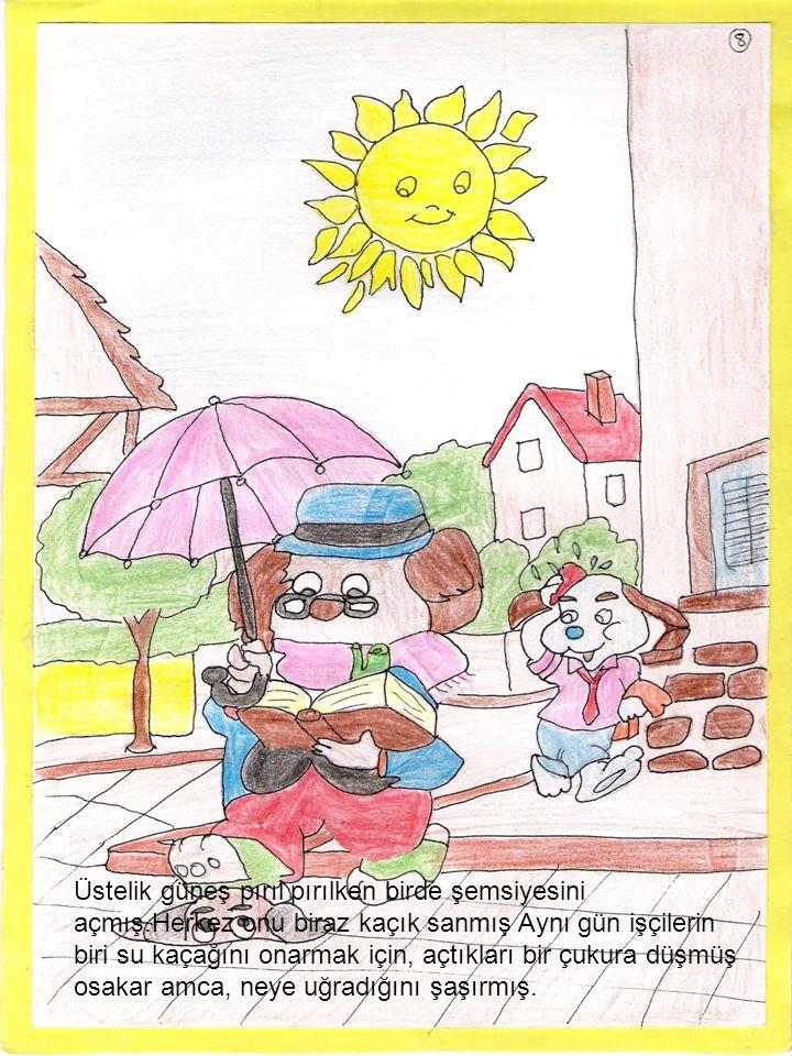 Üstelik güneş pırıl pırılken birde şemsiyesini açmış.Herkez onu biraz kaçık sanmış Aynı gün işçilerin biri su kaçağını onarmak için, açtıkları bir çuk