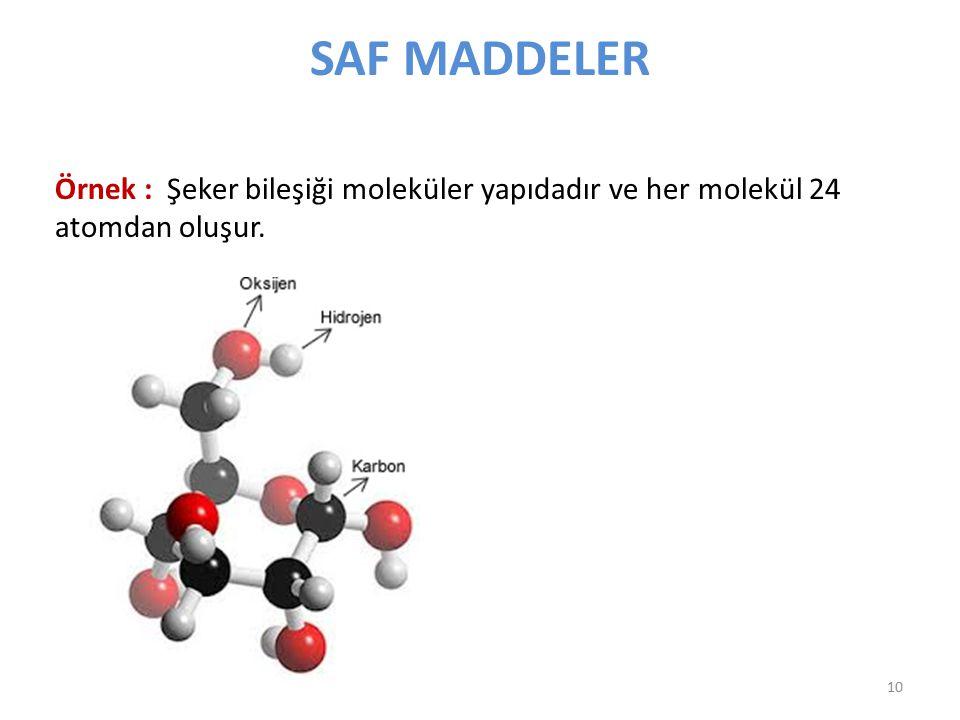 SAF MADDELER Örnek : Şeker bileşiği moleküler yapıdadır ve her molekül 24 atomdan oluşur. 10