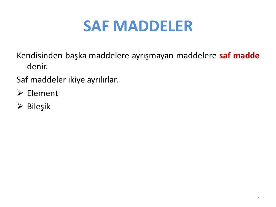 SAF MADDELER Kendisinden başka maddelere ayrışmayan maddelere saf madde denir. Saf maddeler ikiye ayrılırlar.  Element  Bileşik 3