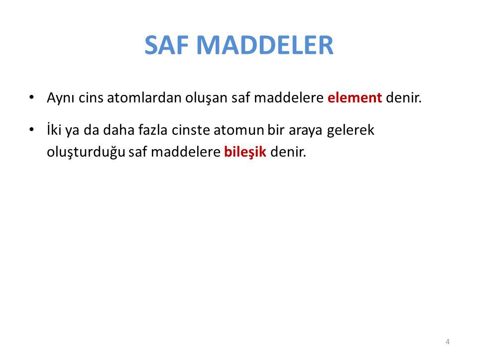 SAF MADDELER Aynı cins atomlardan oluşan saf maddelere element denir. İki ya da daha fazla cinste atomun bir araya gelerek oluşturduğu saf maddelere b