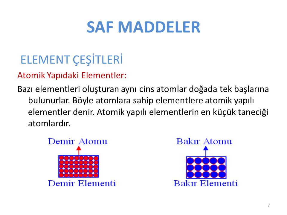 SAF MADDELER ELEMENT ÇEŞİTLERİ Atomik Yapıdaki Elementler: Bazı elementleri oluşturan aynı cins atomlar doğada tek başlarına bulunurlar. Böyle atomlar
