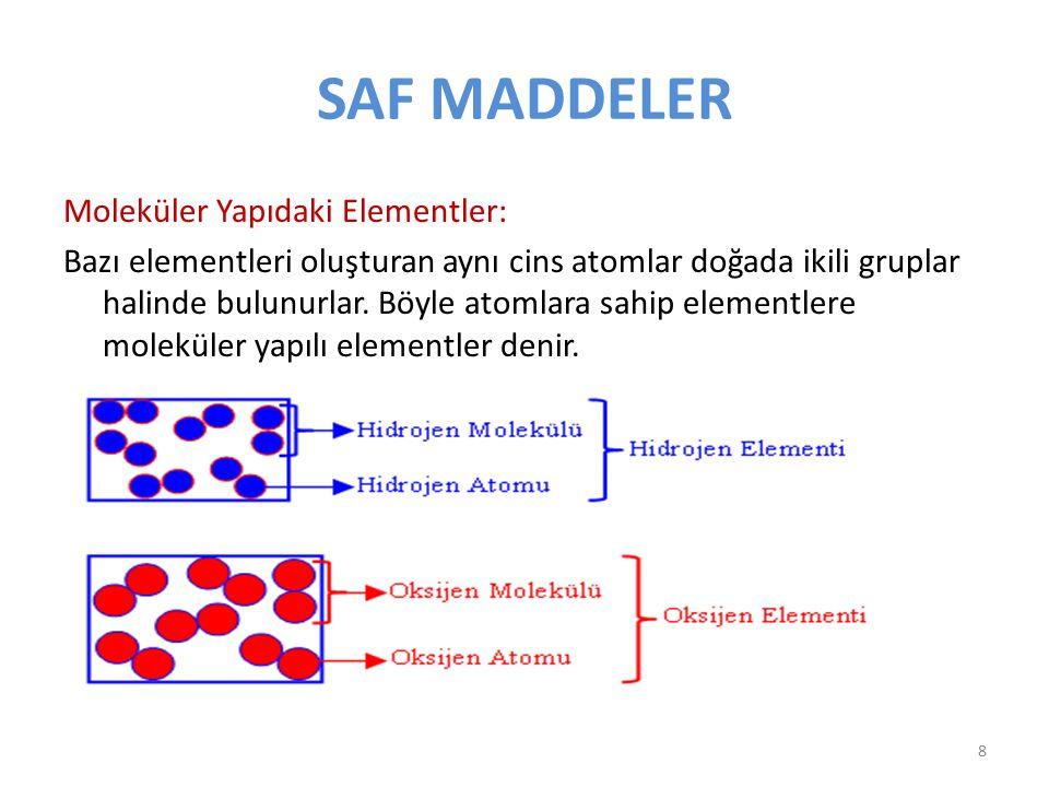 SAF MADDELER Moleküler Yapıdaki Elementler: Bazı elementleri oluşturan aynı cins atomlar doğada ikili gruplar halinde bulunurlar. Böyle atomlara sahip