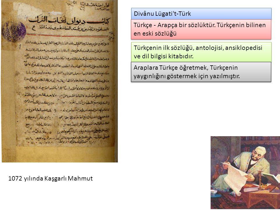 Divânu Lügati't-Türk 1072 yılında Kaşgarlı Mahmut Türkçe - Arapça bir sözlüktür. Türkçenin bilinen en eski sözlüğü Türkçenin ilk sözlüğü, antolojisi,