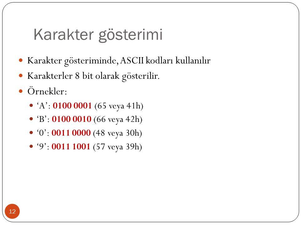 Karakter gösterimi 12 Karakter gösteriminde, ASCII kodları kullanılır Karakterler 8 bit olarak gösterilir.