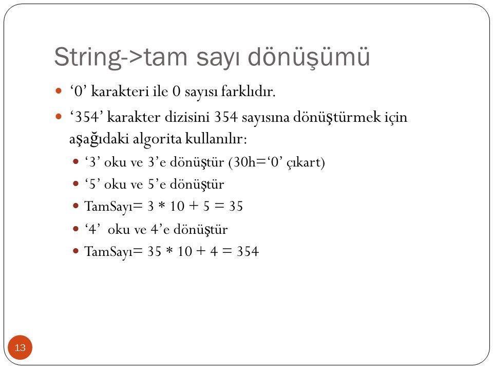 String->tam sayı dönüşümü 13 '0' karakteri ile 0 sayısı farklıdır.