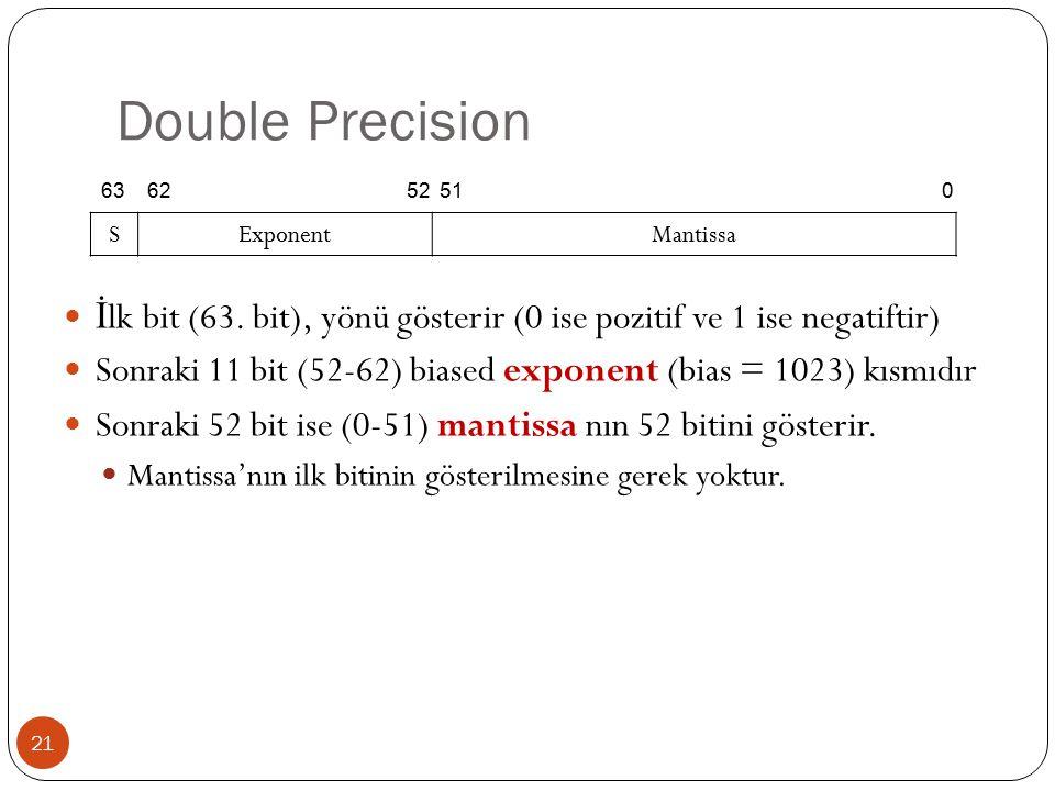 Double Precision 21 İ lk bit (63.