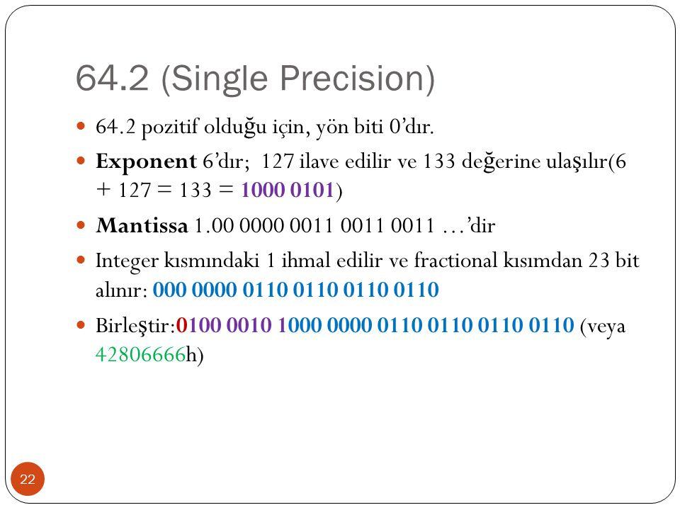 64.2 (Single Precision) 22 64.2 pozitif oldu ğ u için, yön biti 0'dır.