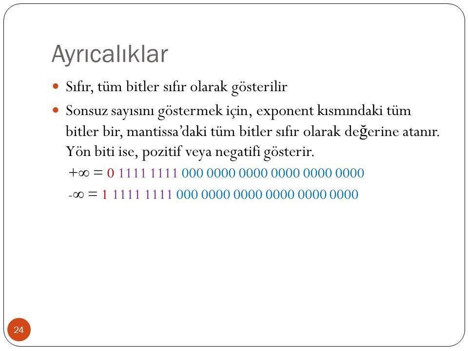 Ayrıcalıklar 24 Sıfır, tüm bitler sıfır olarak gösterilir Sonsuz sayısını göstermek için, exponent kısmındaki tüm bitler bir, mantissa'daki tüm bitler sıfır olarak de ğ erine atanır.