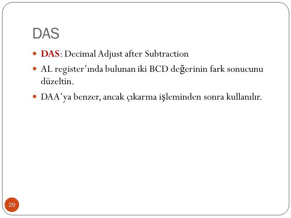 DAS 29 DAS: Decimal Adjust after Subtraction AL register'ında bulunan iki BCD de ğ erinin fark sonucunu düzeltin.