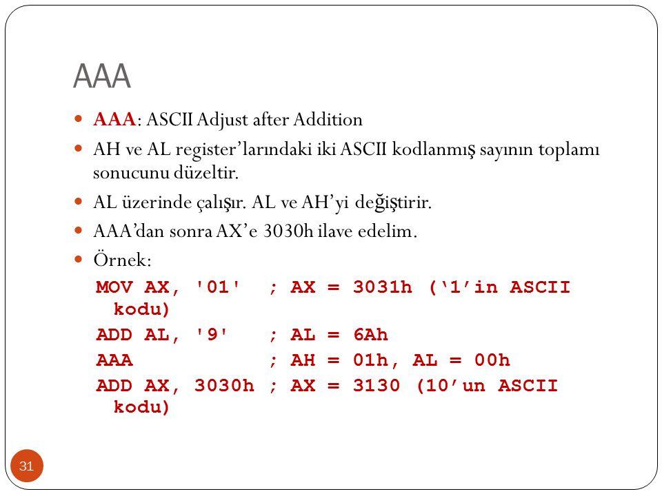 AAA 31 AAA: ASCII Adjust after Addition AH ve AL register'larındaki iki ASCII kodlanmı ş sayının toplamı sonucunu düzeltir.