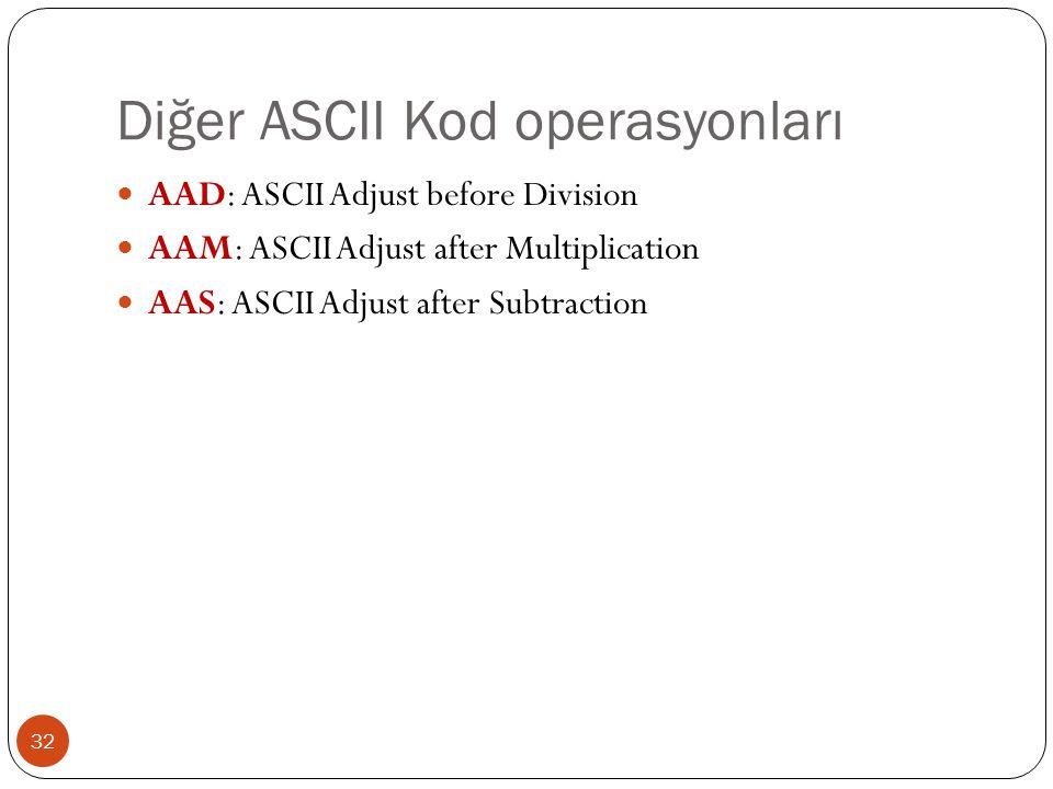 Diğer ASCII Kod operasyonları 32 AAD: ASCII Adjust before Division AAM: ASCII Adjust after Multiplication AAS: ASCII Adjust after Subtraction