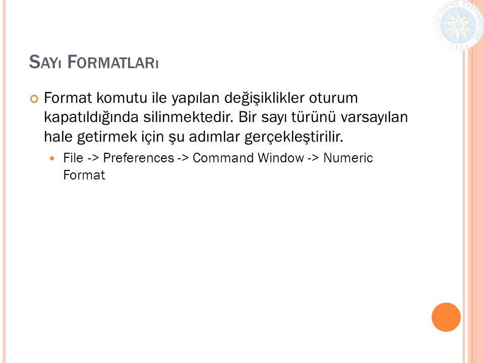 S AYı F ORMATLARı Format komutu ile yapılan değişiklikler oturum kapatıldığında silinmektedir. Bir sayı türünü varsayılan hale getirmek için şu adımla