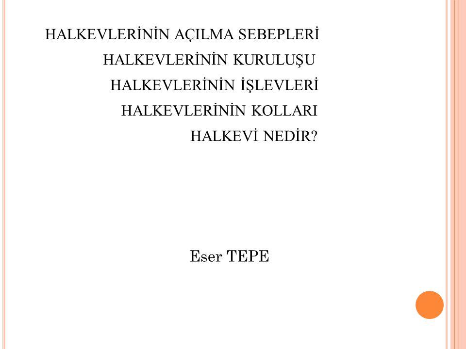 HALK EVLERİNİN KURULUŞU Osmanlı devletinin 19.