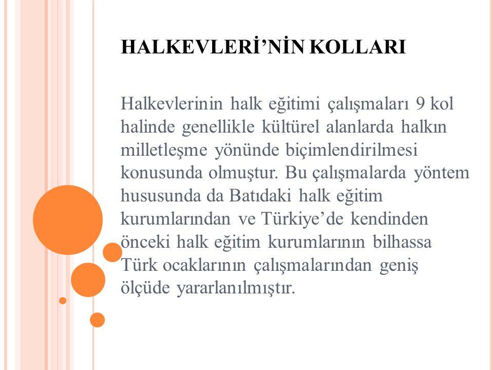 HALKEVLERİ'NİN KOLLARI Halkevlerinin halk eğitimi çalışmaları 9 kol halinde genellikle kültürel alanlarda halkın milletleşme yönünde biçimlendirilmesi