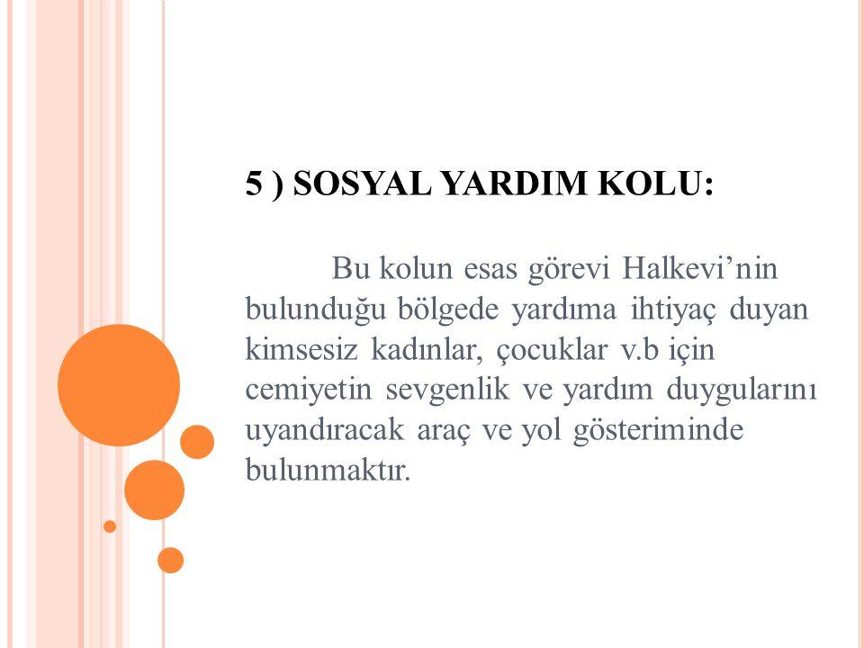 5 ) SOSYAL YARDIM KOLU: Bu kolun esas görevi Halkevi'nin bulunduğu bölgede yardıma ihtiyaç duyan kimsesiz kadınlar, çocuklar v.b için cemiyetin sevgen
