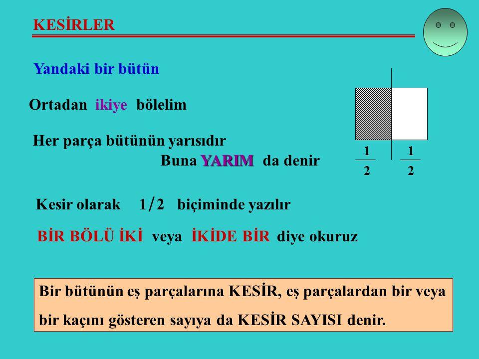 KESİRLER Yandaki bir bütün Ortadan ikiye bölelim Her parça bütünün yarısıdır YARIM Buna YARIM da denir Kesir olarak1 / 2biçiminde yazılır 1 2 1 2 Bir