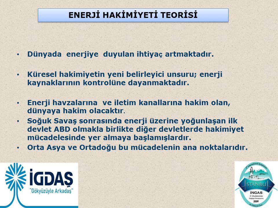 ENERJİ HAKİMİYETİ TEORİSİ Dünyada enerjiye duyulan ihtiya ç artmaktadır. Küresel hakimiyetin yeni belirleyici unsuru; enerji kaynaklarının kontrolüne