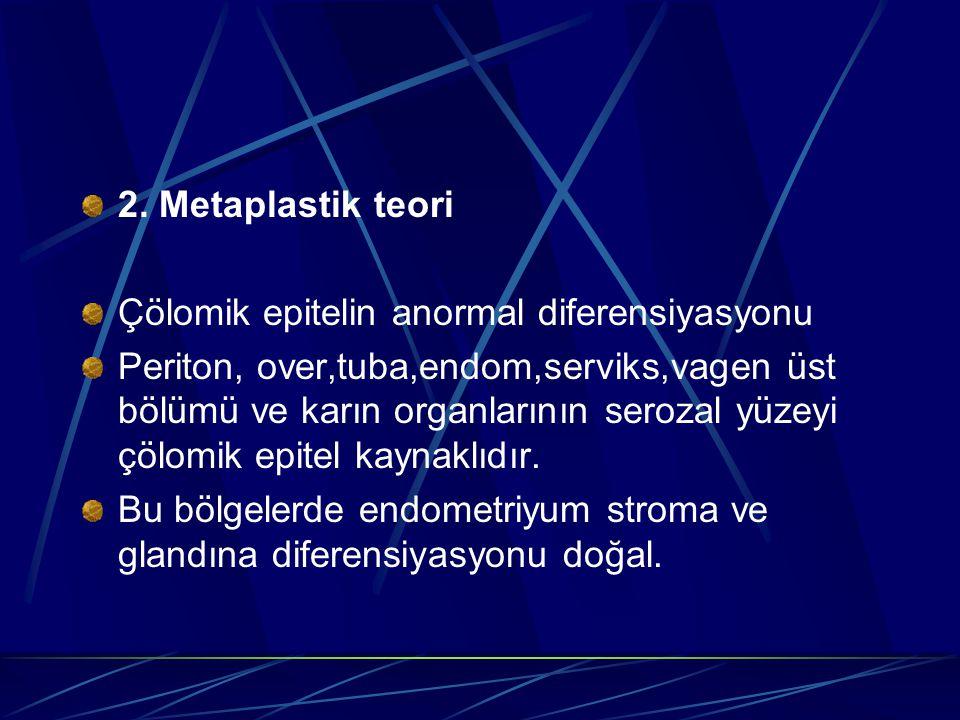 2. Metaplastik teori Çölomik epitelin anormal diferensiyasyonu Periton, over,tuba,endom,serviks,vagen üst bölümü ve karın organlarının serozal yüzeyi