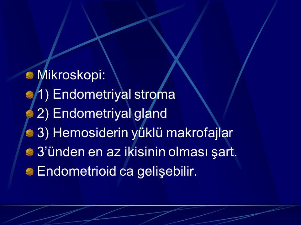 Mikroskopi: 1) Endometriyal stroma 2) Endometriyal gland 3) Hemosiderin yüklü makrofajlar 3'ünden en az ikisinin olması şart. Endometrioid ca gelişebi