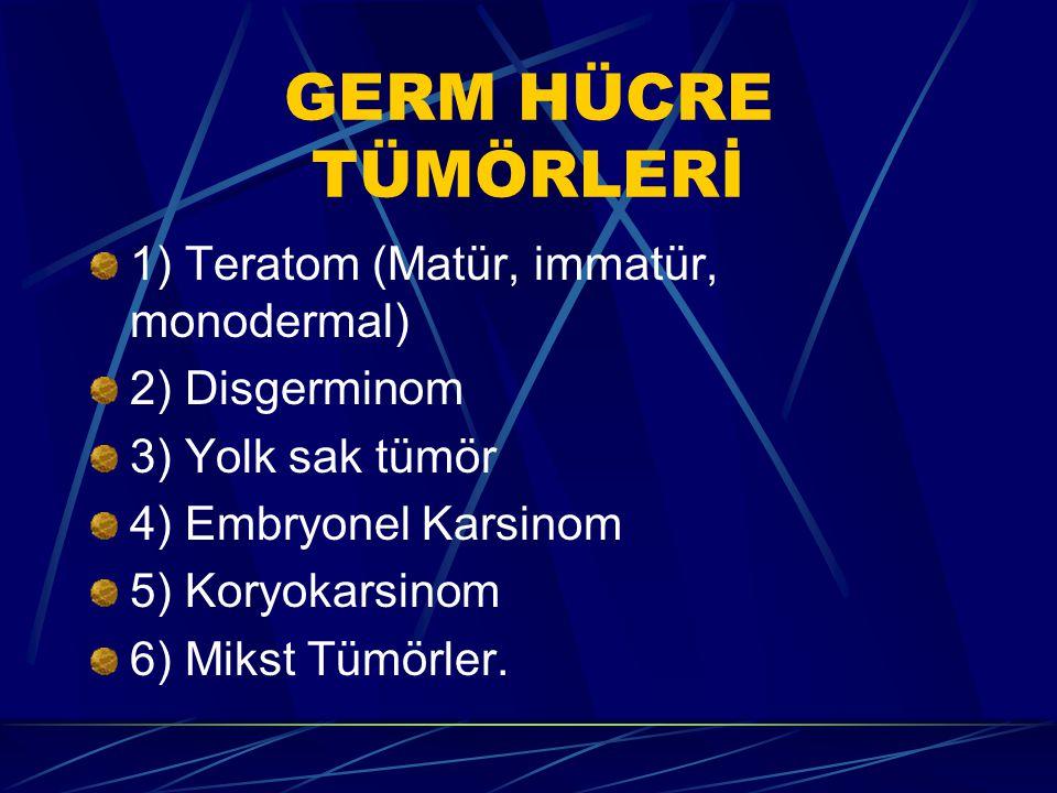 GERM HÜCRE TÜMÖRLERİ 1) Teratom (Matür, immatür, monodermal) 2) Disgerminom 3) Yolk sak tümör 4) Embryonel Karsinom 5) Koryokarsinom 6) Mikst Tümörler