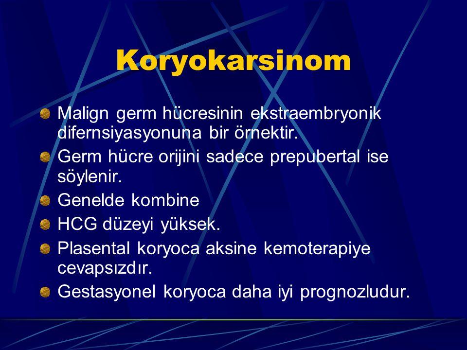 Koryokarsinom Malign germ hücresinin ekstraembryonik difernsiyasyonuna bir örnektir. Germ hücre orijini sadece prepubertal ise söylenir. Genelde kombi