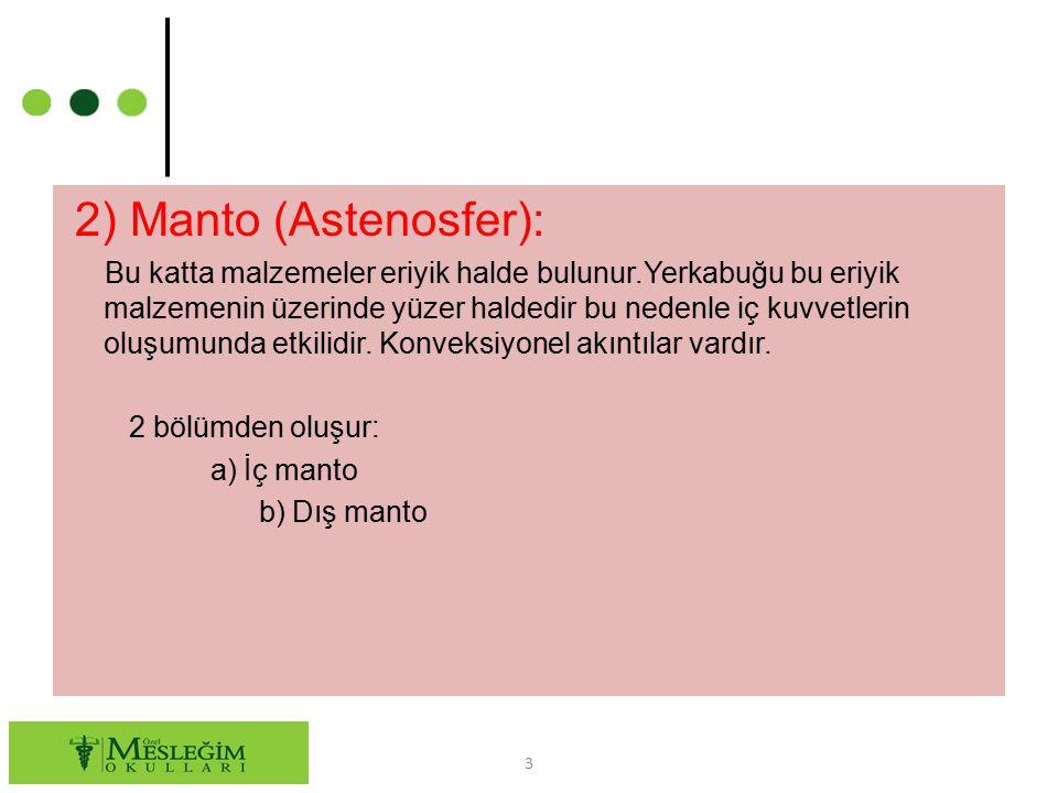 2) Manto (Astenosfer): Bu katta malzemeler eriyik halde bulunur.Yerkabuğu bu eriyik malzemenin üzerinde yüzer haldedir bu nedenle iç kuvvetlerin oluşu