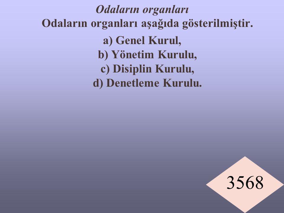 3568 Odaların organları Odaların organları aşağıda gösterilmiştir. a) Genel Kurul, b) Yönetim Kurulu, c) Disiplin Kurulu, d) Denetleme Kurulu.