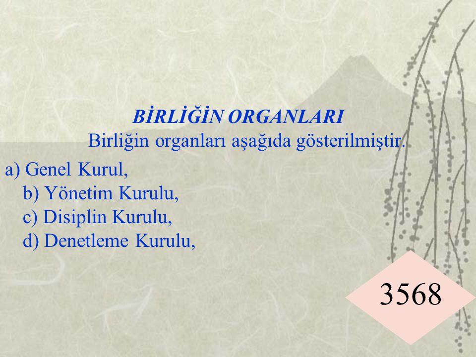 3568 BİRLİĞİN ORGANLARI Birliğin organları aşağıda gösterilmiştir. a) Genel Kurul, b) Yönetim Kurulu, c) Disiplin Kurulu, d) Denetleme Kurulu,