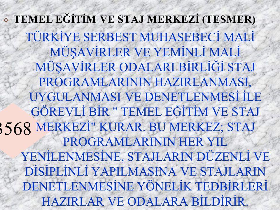 3568  TEMEL EĞİTİM VE STAJ MERKEZİ (TESMER) TÜRKİYE SERBEST MUHASEBECİ MALİ MÜŞAVİRLER VE YEMİNLİ MALİ MÜŞAVİRLER ODALARI BİRLİĞİ STAJ PROGRAMLARININ