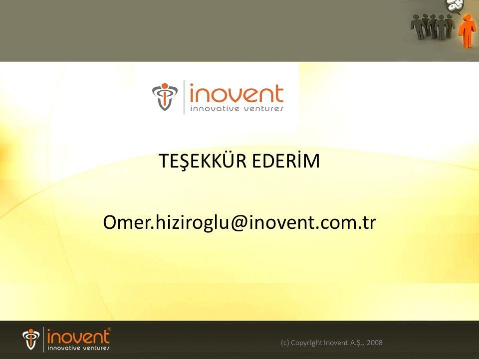 TEŞEKKÜR EDERİM Omer.hiziroglu@inovent.com.tr (c) Copyright Inovent A.Ş., 2008