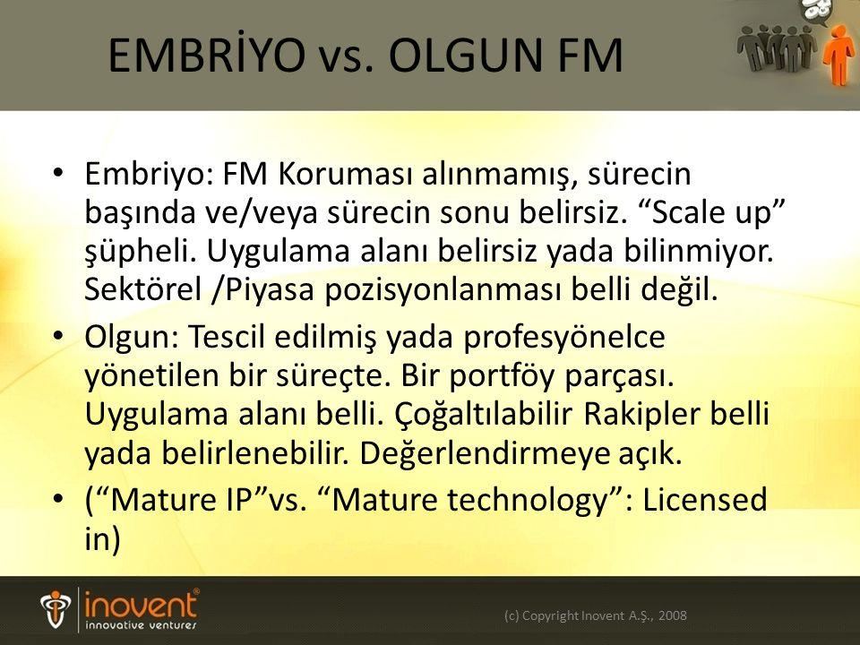 EMBRİYO vs. OLGUN FM Embriyo: FM Koruması alınmamış, sürecin başında ve/veya sürecin sonu belirsiz.