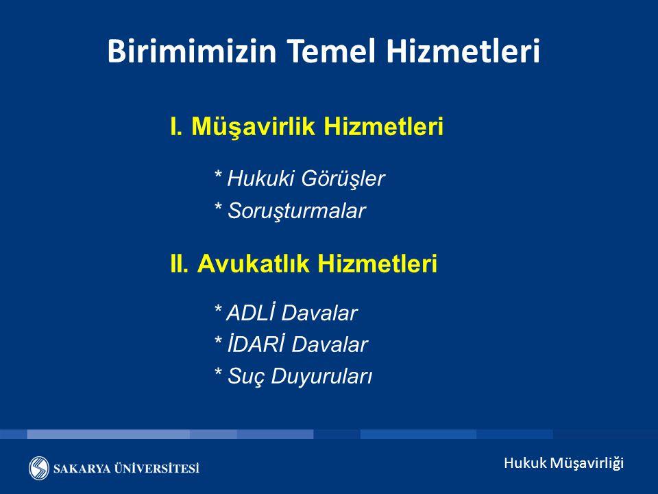 Hukuk Müşavirliği Müşavirlik Hizmetleri / Hukuki Görüşler GELEN / GİDEN EVRAK SAYISI 201220132014 1.