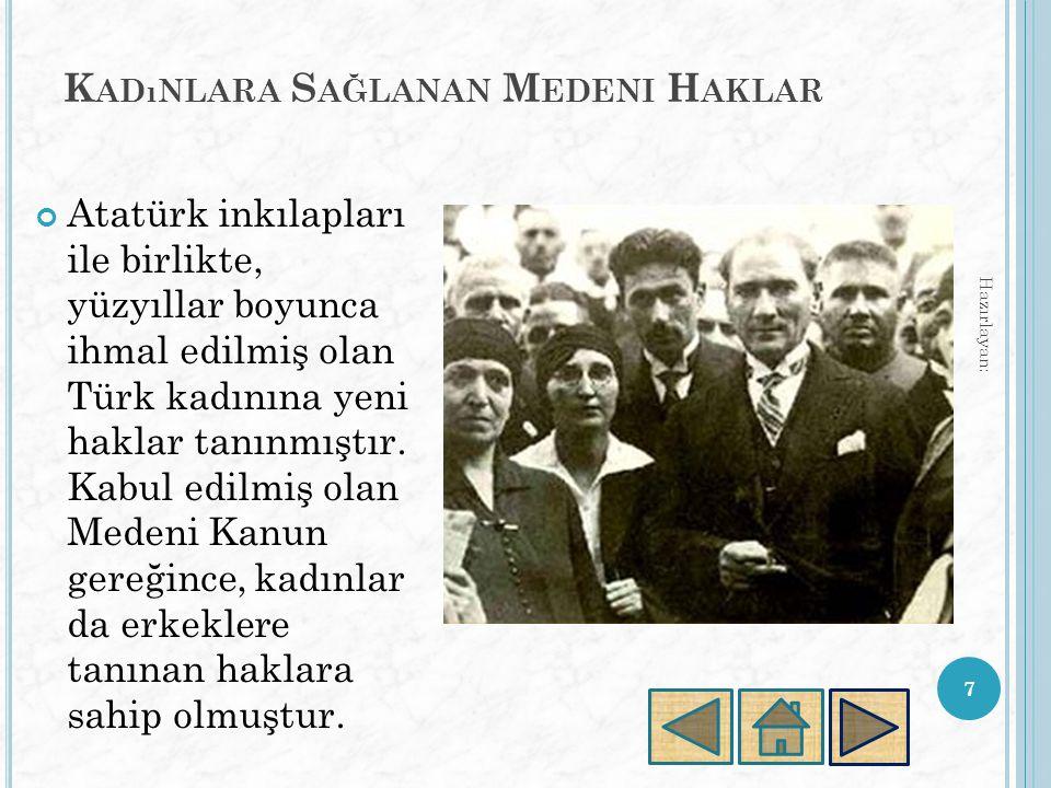 K ADıNLARA S AĞLANAN M EDENI H AKLAR Atatürk inkılapları ile birlikte, yüzyıllar boyunca ihmal edilmiş olan Türk kadınına yeni haklar tanınmıştır.