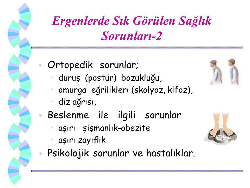 w Ortopedik sorunlar; duruş (postür) bozukluğu, omurga eğrilikleri (skolyoz, kifoz), diz ağrısı, w Beslenme ile ilgili sorunlar aşırı şişmanlık-obezit