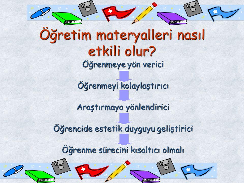Öğretim materyallerinin oluşturulmasında iki aşama çok önemlidir: 1.Öğretim materyalini tasarlama 2.Öğretim materyalini hazırlama