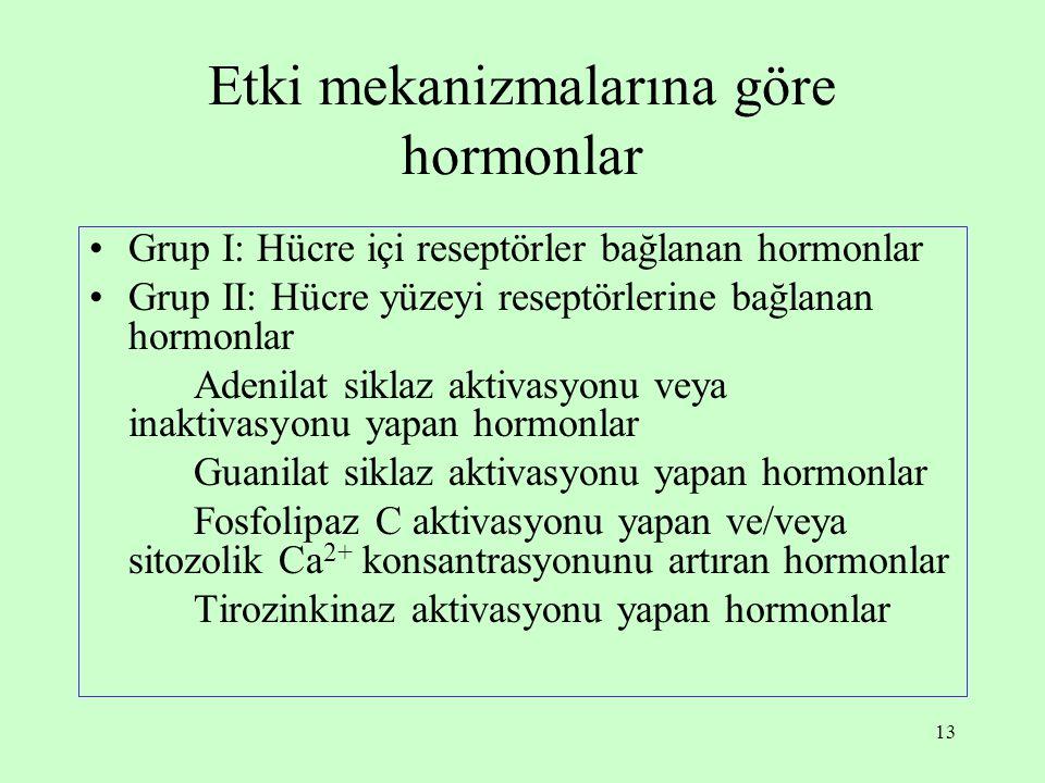 13 Etki mekanizmalarına göre hormonlar Grup I: Hücre içi reseptörler bağlanan hormonlar Grup II: Hücre yüzeyi reseptörlerine bağlanan hormonlar Adenil