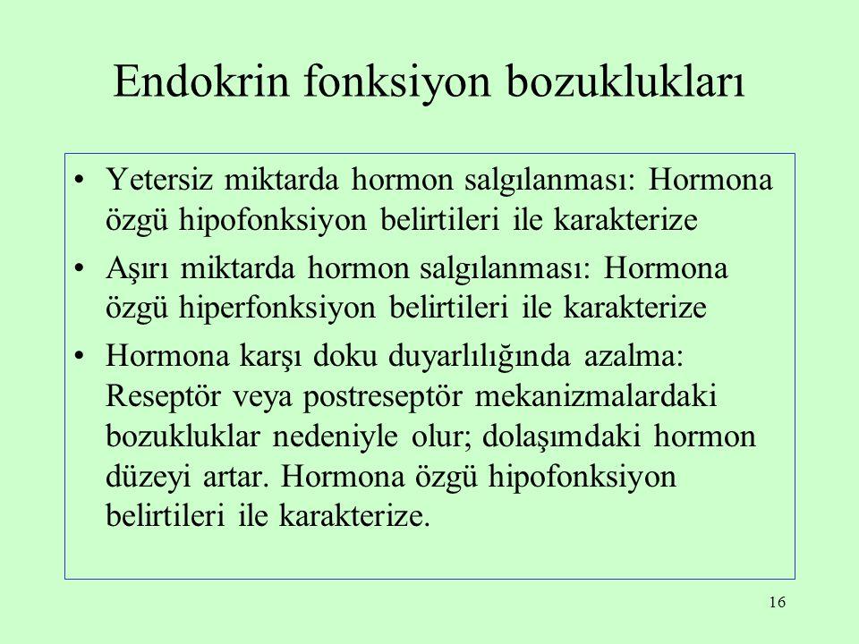 16 Endokrin fonksiyon bozuklukları Yetersiz miktarda hormon salgılanması: Hormona özgü hipofonksiyon belirtileri ile karakterize Aşırı miktarda hormon