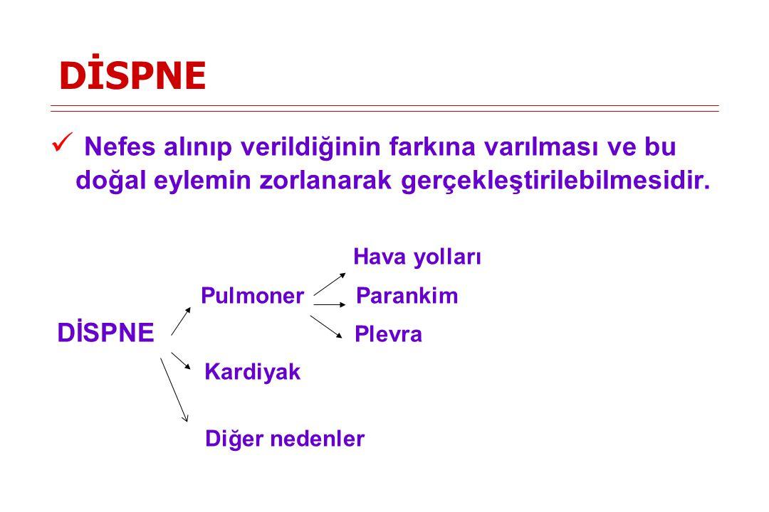 Dispne tipleri Pozisyonla ilişkili Ortopne -KKY -KOAH (ağır) -Diafragma paralizisi Platipne -Pulmoner arteriovenöz malformasyonlar -Ağır karaciğer hastalığı -Abdominal kas paralizisi