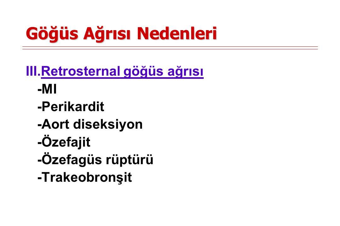 Göğüs Ağrısı Nedenleri IV.Subdiafragmatik nedenler -Gastrit -Kolesistit -Pankreatit -Subdiafragmatik abse V.