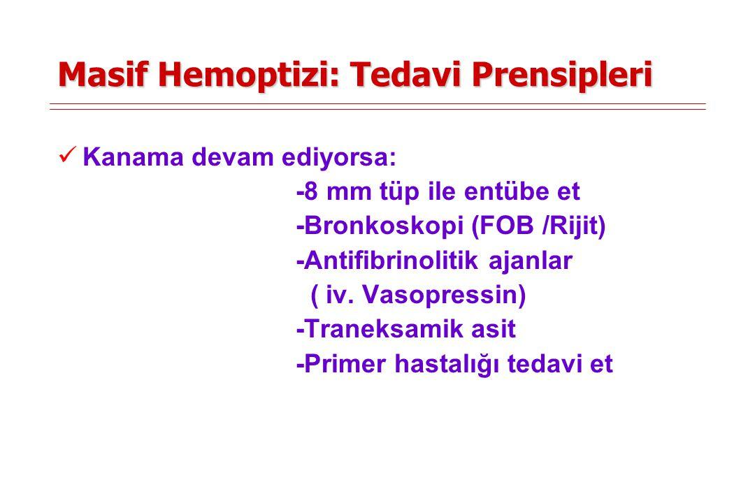 Masif Hemoptizi: Tedavi Prensipleri Kanama devam ediyorsa: -8 mm tüp ile entübe et -Bronkoskopi (FOB /Rijit) -Antifibrinolitik ajanlar ( iv. Vasopress