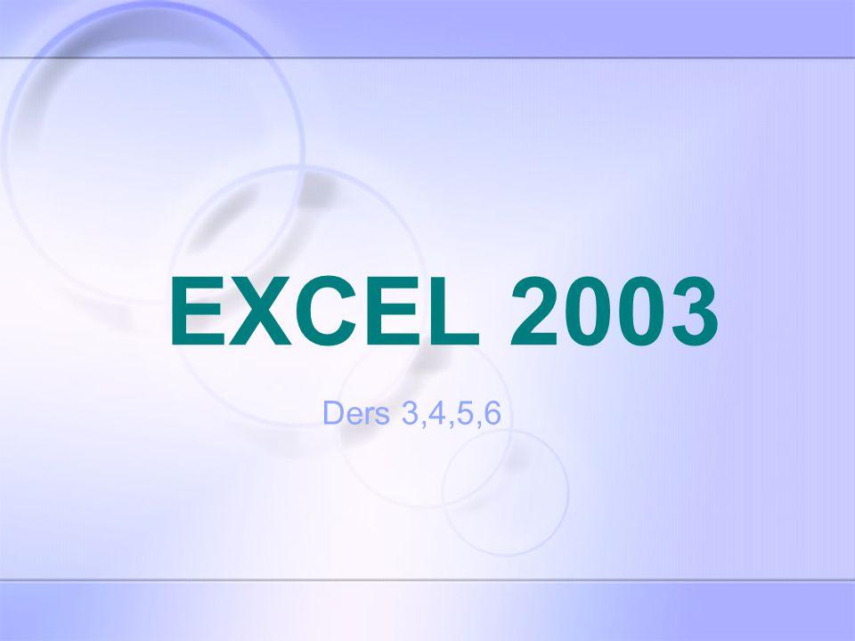 EXCEL 2003 Ders 3,4,5,6