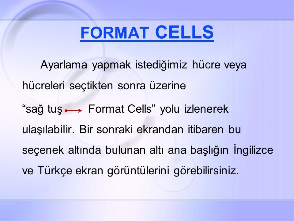 FORMAT CELLS Ayarlama yapmak istediğimiz hücre veya hücreleri seçtikten sonra üzerine sağ tuş Format Cells yolu izlenerek ulaşılabilir.