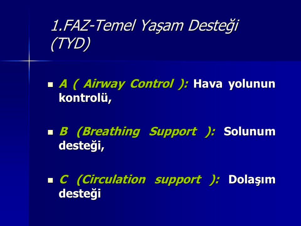 1.FAZ-Temel Yaşam Desteği (TYD) A ( Airway Control ): Hava yolunun kontrolü, A ( Airway Control ): Hava yolunun kontrolü, B (Breathing Support ): Solu
