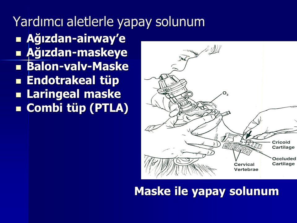 Yardımcı aletlerle yapay solunum Ağızdan-airway'e Ağızdan-airway'e Ağızdan-maskeye Ağızdan-maskeye Balon-valv-Maske Balon-valv-Maske Endotrakeal tüp E