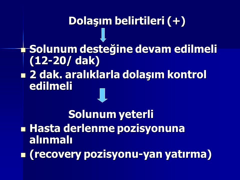 Dolaşım belirtileri (+) Solunum desteğine devam edilmeli (12-20/ dak) Solunum desteğine devam edilmeli (12-20/ dak) 2 dak. aralıklarla dolaşım kontrol