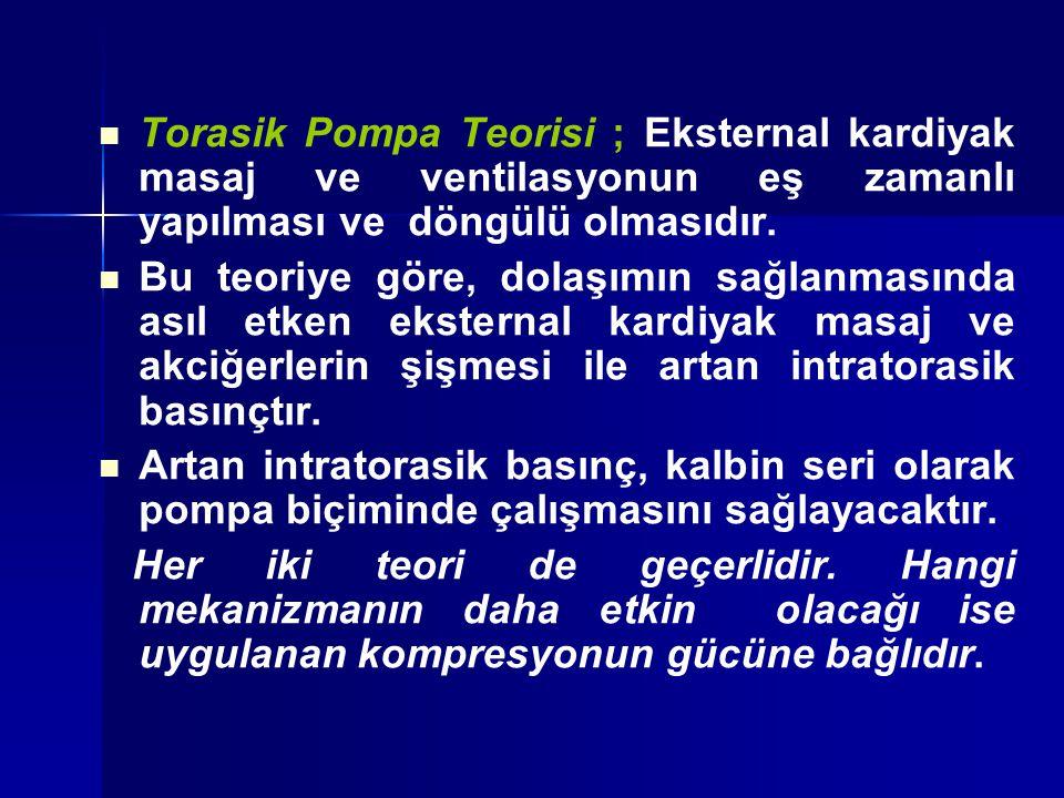 Torasik Pompa Teorisi ; Eksternal kardiyak masaj ve ventilasyonun eş zamanlı yapılması ve döngülü olmasıdır. Bu teoriye göre, dolaşımın sağlanmasında
