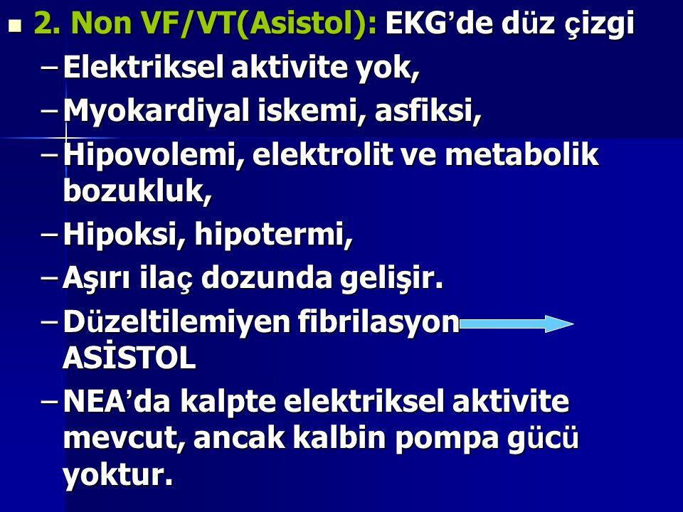 2. Non VF/VT(Asistol): EKG ' de d ü z ç izgi 2. Non VF/VT(Asistol): EKG ' de d ü z ç izgi –Elektriksel aktivite yok, –Myokardiyal iskemi, asfiksi, –Hi