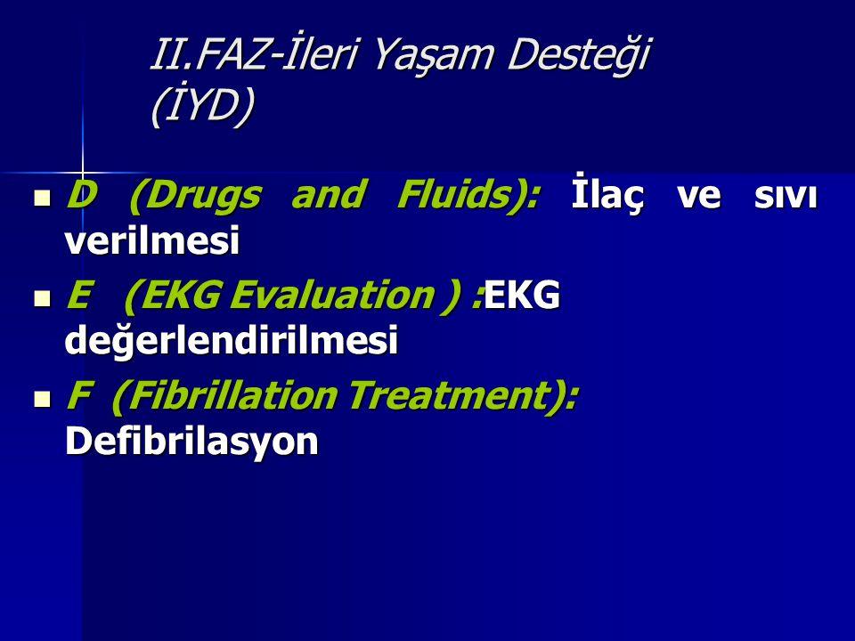 II.FAZ-İleri Yaşam Desteği (İYD) D (Drugs and Fluids): İlaç ve sıvı verilmesi D (Drugs and Fluids): İlaç ve sıvı verilmesi E (EKG Evaluation ) :EKG de